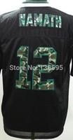 Man Jersey  #12 Joe Namath Men's Black Camo Elite fashion Football jerseys Sale