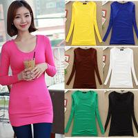 New 2015 plus size women clothing spring autumn women basic long t shirt long sleeve round neck elastic underwear t-shirt W00272