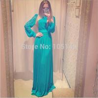 Drop Ship Blue Chiffon Long Evening Dress 2014 Fashion Vestido De Renda Maxi Wedding Party Dress Long Sleeve Lace Prom Dresses