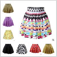 Hot sale!!! Fashion 2015 summer women pleated skirts Cheshire Cat Nana Adventure time Funny Simpson SKIRT Saia