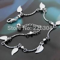Leaf Bell Anklet Chain Ankle Bracelet Link Silver Tone