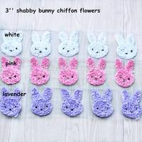 FREE shipping Chiffon Bunny  , shabby bunny flowers  -45 pcs----3colors by  Epacket