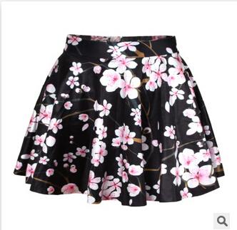 Hot sale!!! R4 2015 New women pleated skirts Cherry Blossom Black Reversible SKATER SKIRT Saia Free size(China (Mainland))