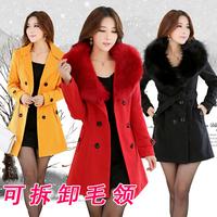 HOT SALE 2015 Winter women outerwear woolen medium-long   cashmere overcoat Double Breasted Jackets parka coats