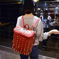 2015 European and American style fashion Women's zipper Backpacks unisex shoulder bag rivets bucket bag PU leather school bags