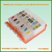 Wholesale 125 126 6pcs/set PGI125 CLI126 Refillable Ink Cartridge with Chip for Canon PIXMA MG6110  MG6210 Printer