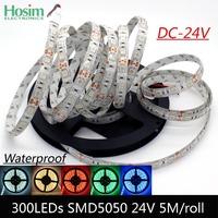 24V 5050 SMD 300 LED  flexible light 60 led/m 5050 waterproof LED strip tape 24V DC cold white/warm white/blue/green/red/yellow