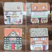 1PCS Free Shipping Retro Europe Style Small House Tin Box Relief Small Tin Kit Candy Jewelry Storage Box Case