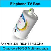 Elephone TV BOX Quad Core Android 4.4 1GB+8GB Cortex A9 1.6Ghz 1920*1080 TV BOX With Remote Control