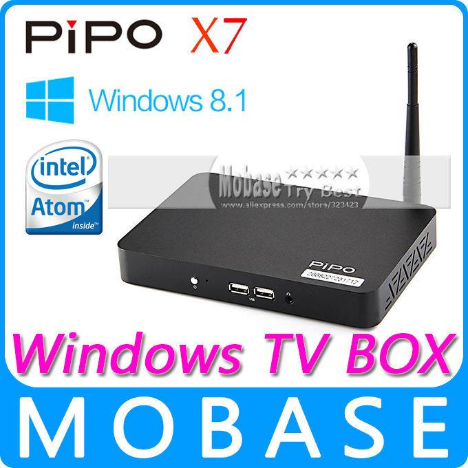 Original PIPO X7 Windows 8.1 with Bing OS Smart TV Box Intel Atom Z3736F 1.8GHz Quad Core 2GB/32GB IPTV XBMC Media Player Black(China (Mainland))