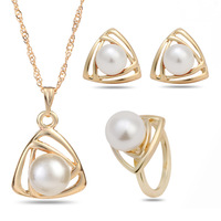Retail Classical Wedding Gold Platinum Plated Pearl Jewelry Set Triangle Geometric Jewelry Sets,Pendant Necklace/Earrings/Ring