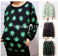 HOT 2015 Harajuku Style New Women Hemp leaf Pullover 3D Sweatshirts Loose Long Sleeve Hoodies Galaxy sweat suits Outerwear Tops