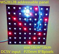 P20mm 8*8pixels WS2812B led digital(ws2811 IC controlled)panel light,size:16cm*16cm,DC5V input