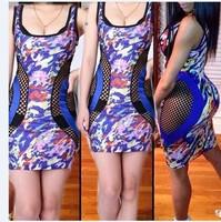 2014 Fashion Autumn Dress Hollow Out Floral Printing Mesh Bodycon Dress KF037 S M L