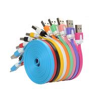 المسطحة الملونة 1m 3ft ومصاريف مايكرو usb مزامنة بيانات الكابل لسامسونج نوكيا s3 s4 s5 لhtc الروبوت الهواتف