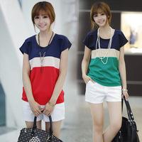 Hot Summer Korean version of the new women's round neck chiffon three color stitching loose chiffon shirt short-sleeved T-shirt
