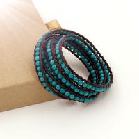 VIKIKO wrap bracelets Brown leather cord bracelet natural  turquoise free shipping