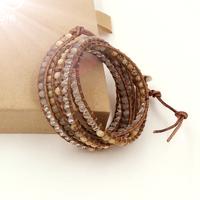 VIKIKO wrap bracelets leather cord bracelet natural Moonlight crystal stone mixed color  free shipping VK0025
