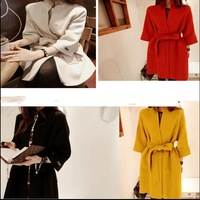 HOT SALE 2015 women's autumn outerwear woolen overcoat loose  red medium-long woolen outerwear Coats  Jackets