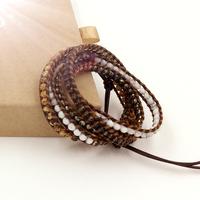 VIKIKO wrap bracelets Brown leather cord bracelet natural stone free shipping VK0003