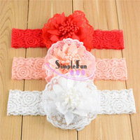 2015 Newest Chiffon Bow with Lace headband For baby girls Mix color 50pcs/Lot