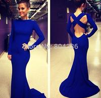 Fashion Lady Sexy Vestidos De Fiesta Scoop Neck Long Sleeves Open Back Royal Blue Mermaid Long Evening Dresses 2015