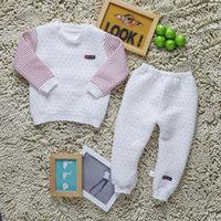 2014baby clothes cotton warm pajamas, children's underwear suits of the girls Clip silk floss set