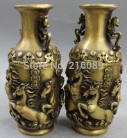 "9"" Marked Chinese Pure Bronze Successful Running 8 Horse Dragon Beast Vase Pair"