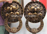 "Details about  18"" Chinese Bronze Fengshui Fu Foo Dog Guardion Lion Head Door knocker Gate Pair"