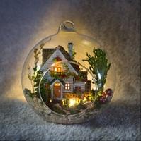 DIY LED LIGHT crystalball mini-series Dollhouse forest home house kit