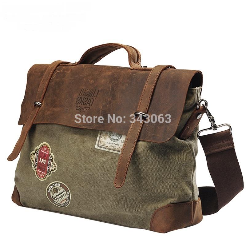 High Quality Fashion Crazy Horse messenger bags Handbags 5styles canvas Brand impresso bolsos men's travel bag briefcase sacoche(China (Mainland))