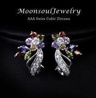 Moon Soul Wholeslae 1pc CZ Flower Tie Elegant Stud Earring E10020a