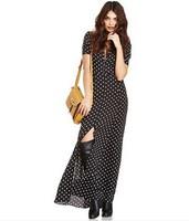 New 2015 Women Summer Casual Dress Polka Dot Hem Slit Maxi Dress Plus Size Short Sleeve Long Dresses