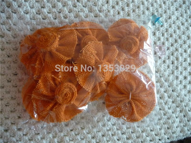 Free Shipping 9pcs/lot Rustic Wedding Decoration Supplies Handmade DIY Orange Color Burlap Flowers Natural Hessian Jute Flower(China (Mainland))