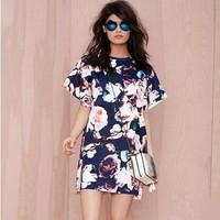 2015 Fashion Women Dress Vintage Floral Print Dress Short Sleeve Mini Plus Size Casual Summer Dresses  Vetement Femme Brand