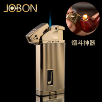 Jobon zhongbang smoking pipe open flame lighter straight into the biswitch double windproof gas lighter smoking pipe