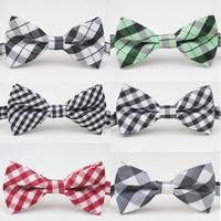Retail Hot Sale Kids Cotton Bowtie Striped Plaid Bow Tie Boy Adjustable Bowties Size 9.5cm*5cm High Quality Bow Tie For Children
