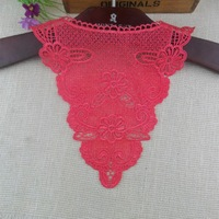 5pc/lot 28x31cm Water Soluble Embroidery Lace Applique Collar Red Lace Sew-on Motif Patchwork Sewing Accessories AC0336