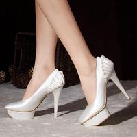 Free shipping 2014 New flower female high-heeled wedding shoes pink high-heeled shoes the bride shoes fashion bridal shoes