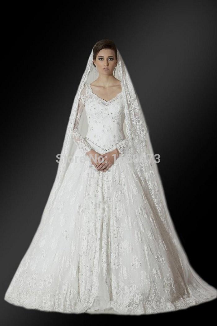 Retro Church V-Neck Long Sleeve Lace Decoration Dubai Long Sleeve Muslim Wedding Dress For Mother Of the Groom(China (Mainland))