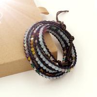 VIKIKO wrap bracelets Brown leather cord bracelet natural amazon stone mixed color  free shipping VK0023