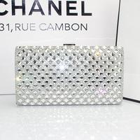 2015 New Women's Clutch Party Full Diamond Crystal Silk Handbag Evening Bag 120CM Chain Shoulder Messenger Bag Black Gold Silver