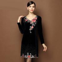 women new 2015 spring embroidery fashion flowers beading velvet plus size xl xxl xxxl xxxxl xxxxxl 3xl 4xl 5xl pullovers dress