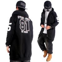 2015 New Lengthen Hip Hop Hoodies Mens Brand Cardigans Hood Zipper Coat Fashion Outerwear Overcoat Sweatshirt black Cyeap 81 HBA