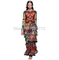 Top Quality 2015 New Spring Women Full Dress Vintage Charming Print Cascading Ruffle Long Dress Flare Sleeve Elegant  Dress