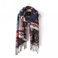 2015 Fashion letter rhombus pattern jacquard tassel scarf cape fashion elegant warm