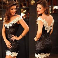 Hot new summer women's sexy V-neck sequined  Slim Lei mesh gauze halter dress package hip  dress