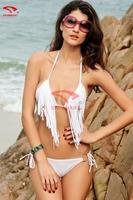 Tassels Bikinis Set 2015 Sexy Swimwear Women triangl Swimsuits Fashion Low Waist Biquini Push up Bathing Suit S M L XL
