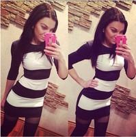 New 2015 spring dress S-XXL black and white stripes women summer dress cute vestidos JL-02