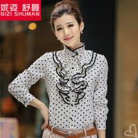 Hot new female fashion Slim lotus leaf collar long-sleeved shirt retro dot chiffon lace long-sleeved T-shirt shirt wild